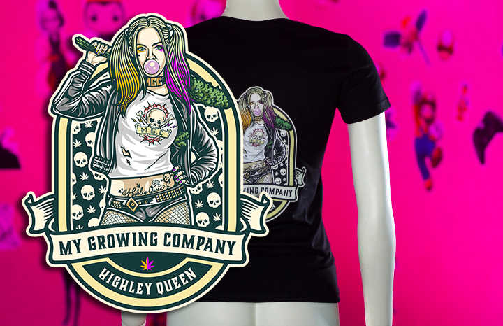 highley queen my growing company cbd cannabis t-shirt